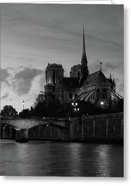 Greeting Card featuring the photograph Notre Dame By Night by Richard Goodrich