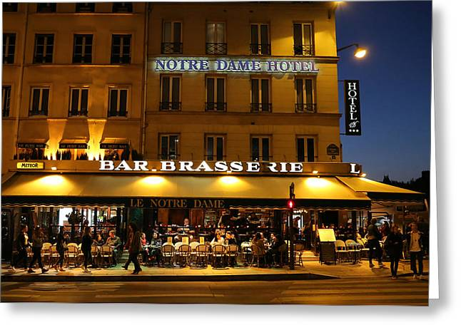 Notre Dame Cafe Greeting Card by Andrew Fare