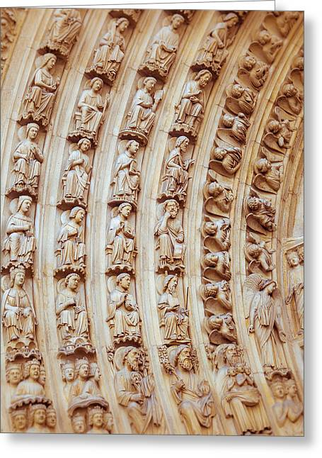 Notre Dame Cathedral Carvings Greeting Card by Nila Newsom