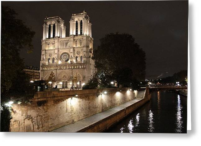 Greeting Card featuring the photograph Notre Dame Cathedral From Petit Pont by Christopher Kirby