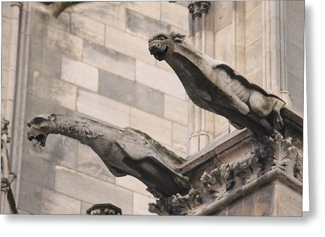 Greeting Card featuring the photograph Notre Dame Cathedral Gargoyles by Christopher Kirby
