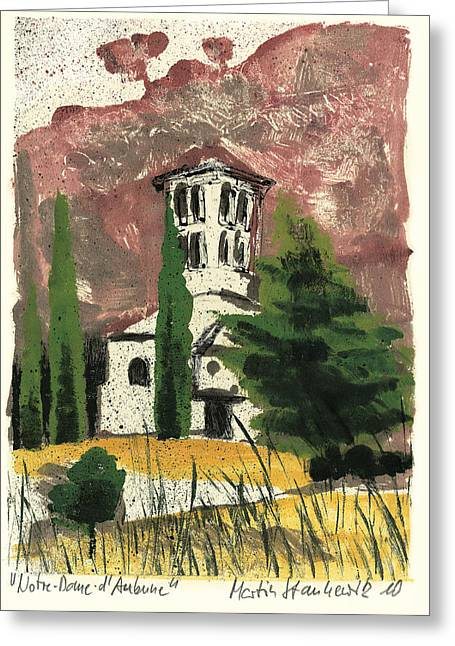 Greeting Card featuring the painting Notre Dame D'aubune by Martin Stankewitz