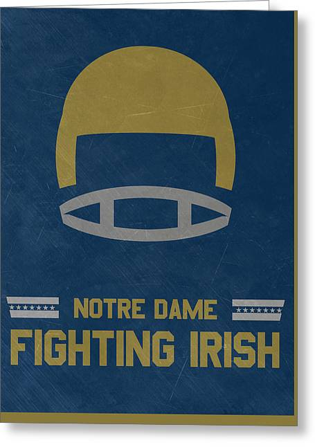 Notre Dame Fighting Irish Vintage Football Art Greeting Card by Joe Hamilton