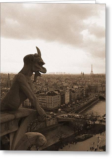 Notre Dame Gargoyle Over Paris Greeting Card