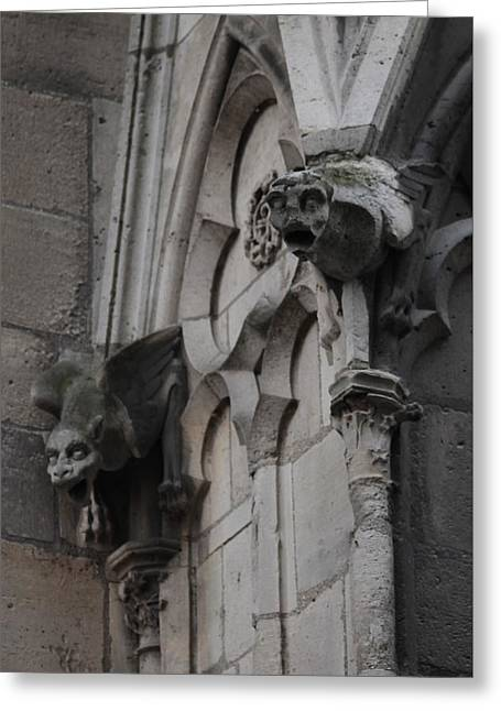 Greeting Card featuring the photograph Notre Dame Grotesques by Christopher Kirby