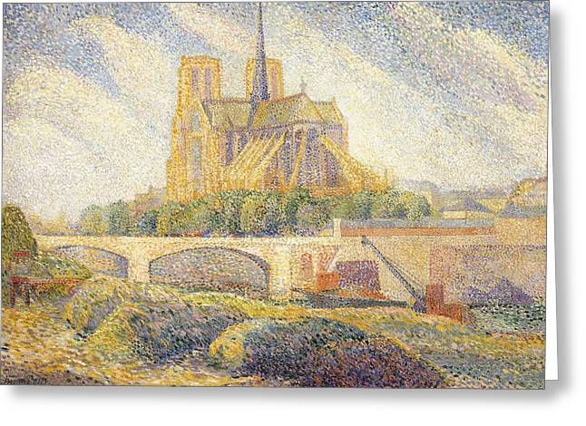 Notre Dame Greeting Card by Hippolyte Petitjean