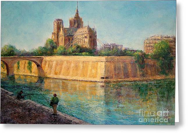 Notre Dame In Sunshine Greeting Card by Jill Musser