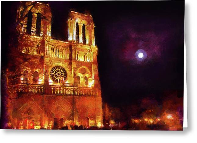 Notre Dame In The Autumn Moonlight Greeting Card