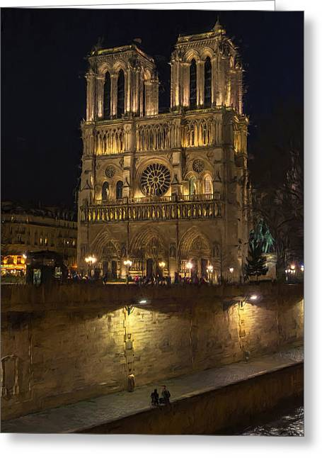 Notre Dame Night Painterly Greeting Card