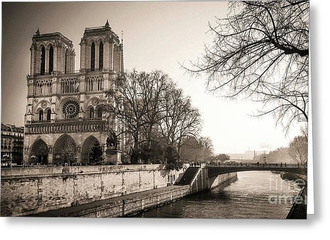 Notre Dame Of Paris And The Quays Of The Seine. Paris. France. City Greeting Card