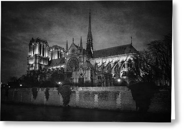 Notre Dame On The Seine Bw Greeting Card by Joan Carroll
