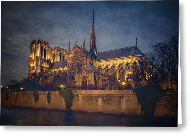 Notre Dame On The Seine Textured Greeting Card by Joan Carroll