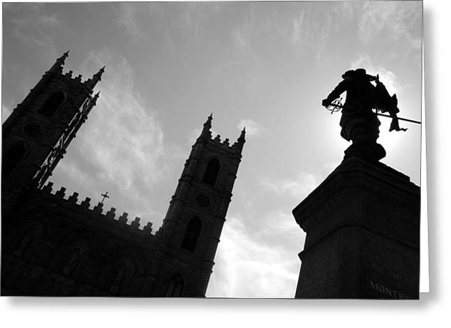Greeting Card featuring the photograph Notre Dame Silhouette by Valentino Visentini
