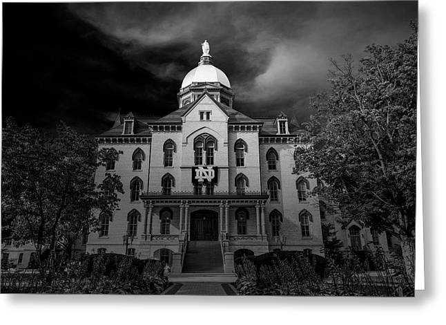 Notre Dame University Black White 3a Greeting Card by David Haskett