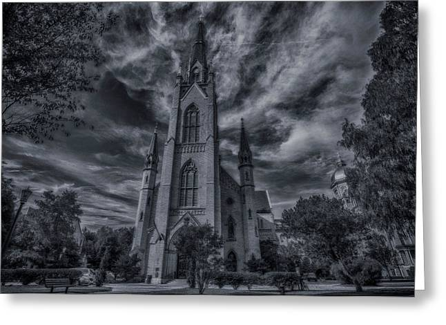 Notre Dame University Church Greeting Card by David Haskett