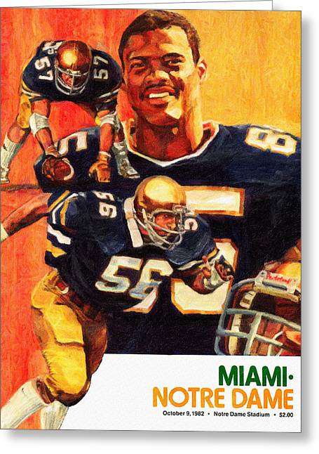 Notre Dame Versus Miami 1982 Program Greeting Card by Big 88 Artworks
