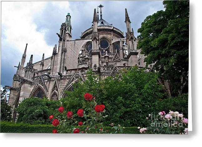 Notre Dame With Rose Garden Greeting Card
