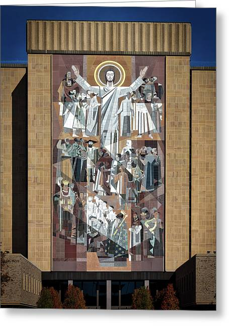 Notre Dame's Touchdown Jesus Greeting Card by Mountain Dreams