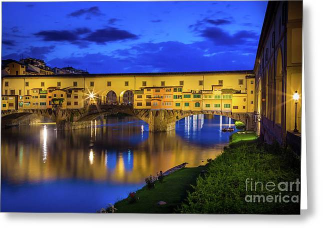 Notte A Ponte Vecchio Greeting Card