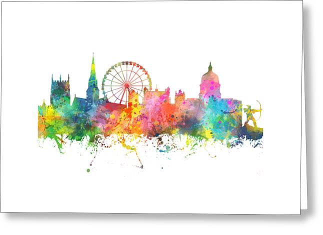 Nottingham  England Skyline Greeting Card