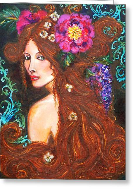 Nouveau Beauty Greeting Card by Kimberly Van Rossum