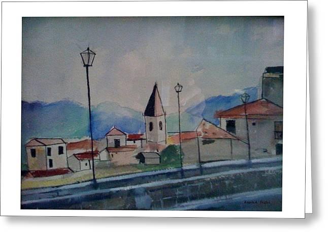 Novara Revisited Greeting Card by Angela Puglisi