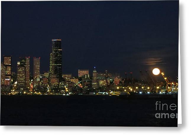 November Beaver Moon Rises Over Seattle Greeting Card