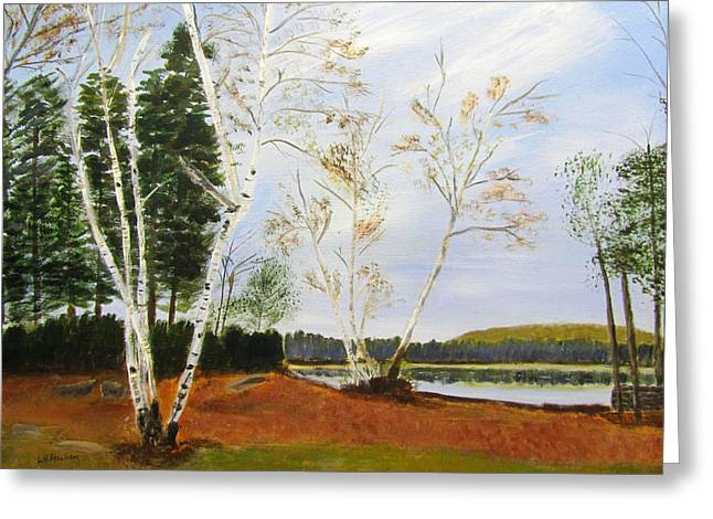 Greeting Card featuring the painting November Day by Linda Feinberg