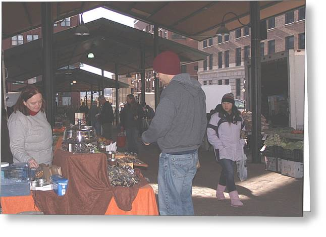 November Farmers Market Lowertown Greeting Card by Janis Beauchamp