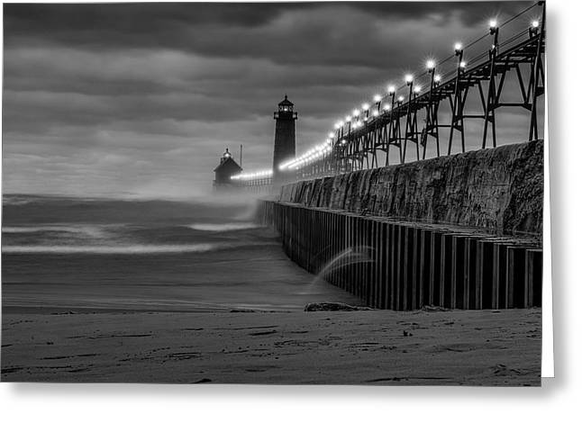 November Gales In Grand Haven Greeting Card