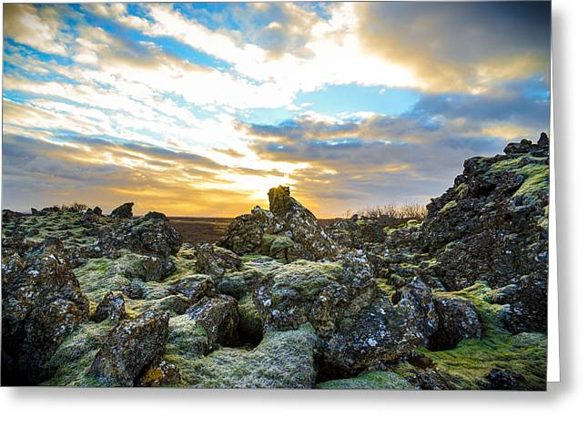 November Light Over Icelandic Lava Field Greeting Card
