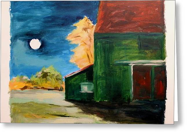 Greeting Card featuring the painting November Moon Rising by John Williams