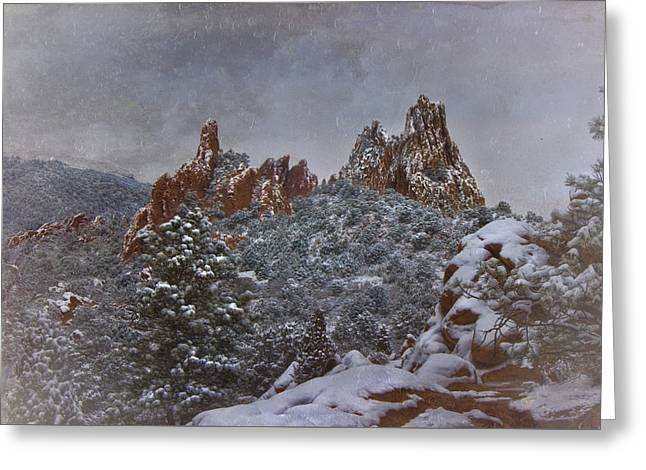 Greeting Card featuring the photograph November Snow - Garden Of The Gods by Ellen Heaverlo