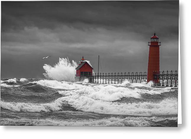 November Storm  With Flying Gull By The Grand Haven Lighthouse Greeting Card