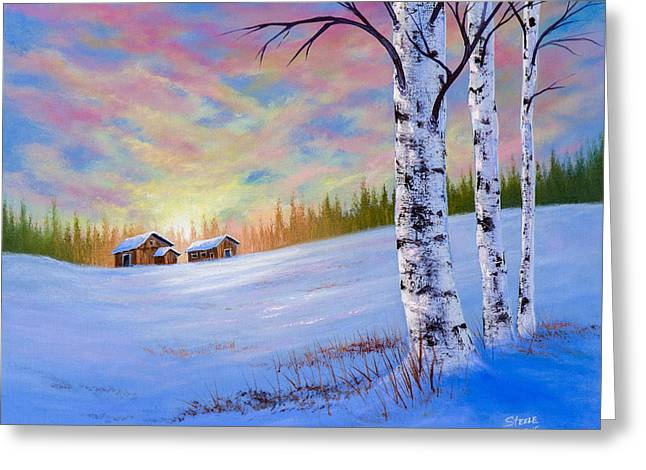 November Sunset Greeting Card by C Steele