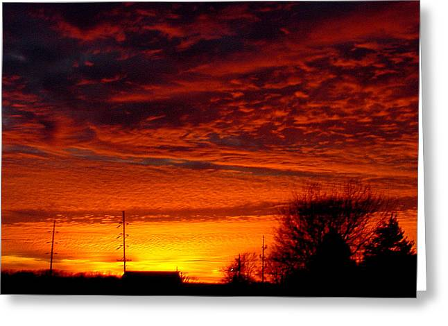 November Sunset Greeting Card by Dave Clark