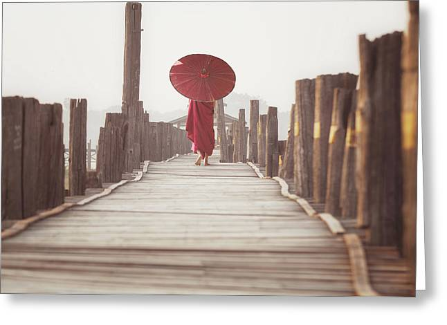 Novice Walk On U Bein Wooded Bridge  Greeting Card
