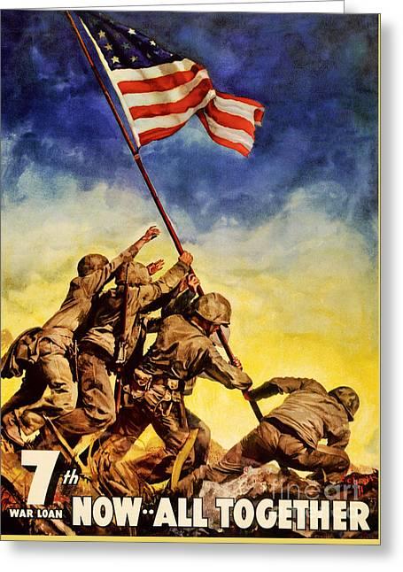 Now All Together Vintage War Poster Restored Greeting Card