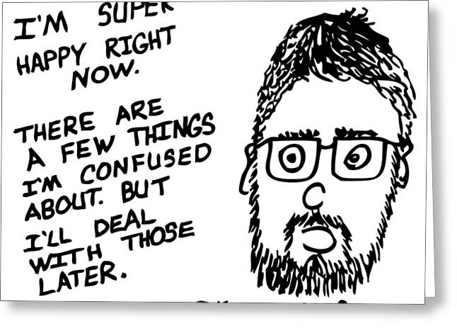 Now Comic Greeting Card by Karl Addison