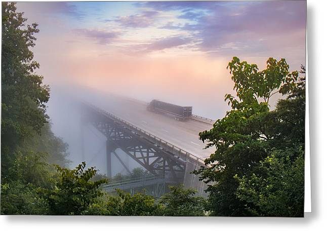 Nrb184 New River Bridge In The Fog Greeting Card by Mary Almond