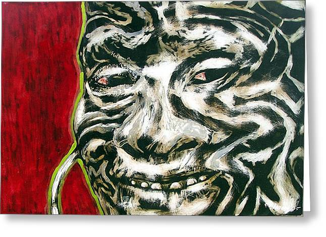 Nuba Paint Greeting Card by Chester Elmore