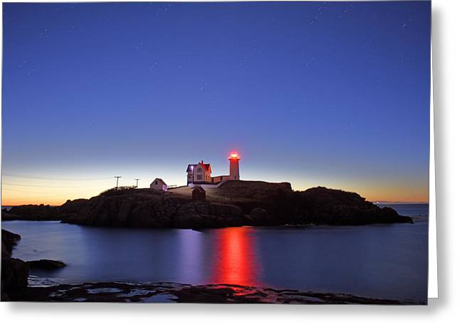 Nubble At Dawn Greeting Card by Ron Hebert