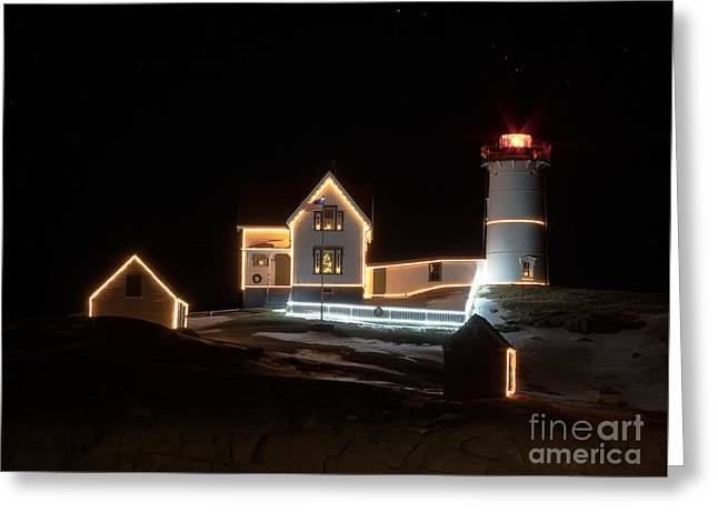 Nubble At Night Greeting Card by Patrick Fennell