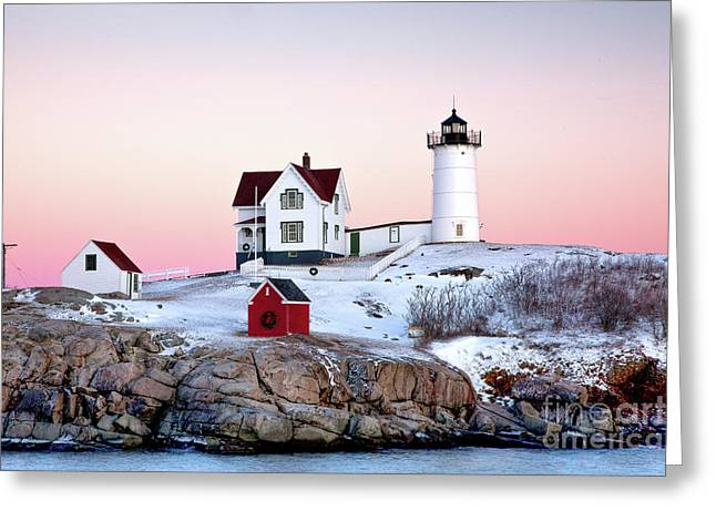 Cape Neddick Lighthouse Greeting Cards - Nubble Glow Greeting Card by Susan Cole Kelly