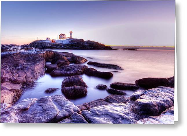 Greeting Card featuring the photograph Nubble In The Morning by Chris Babcock