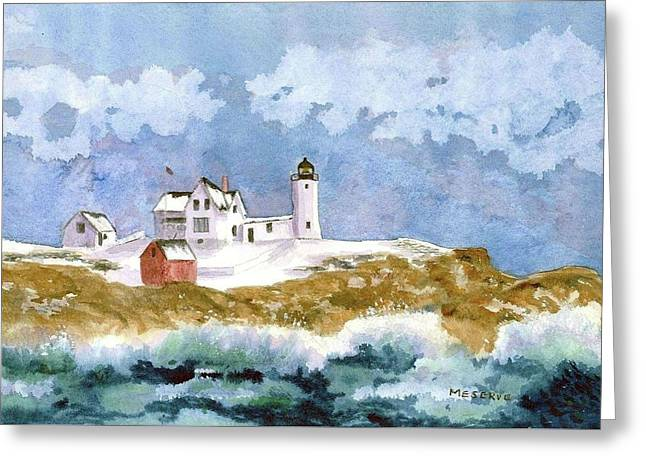 Nubble In Winter Greeting Card by Roseann Meserve