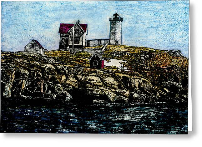 Maine Lighthouses Mixed Media Greeting Cards - Nubble Light - York Maine Greeting Card by Robert Goudreau