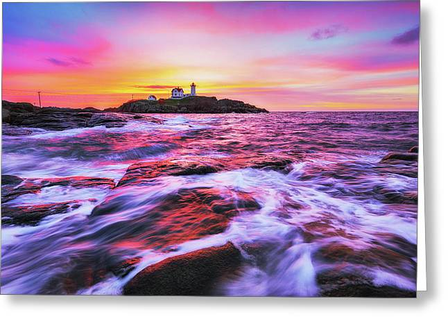 Nubble Light Dreamy Sunrise Greeting Card by Robert Clifford