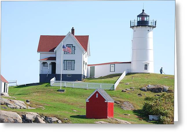Nubble Light House  Greeting Card by Armand Hebert