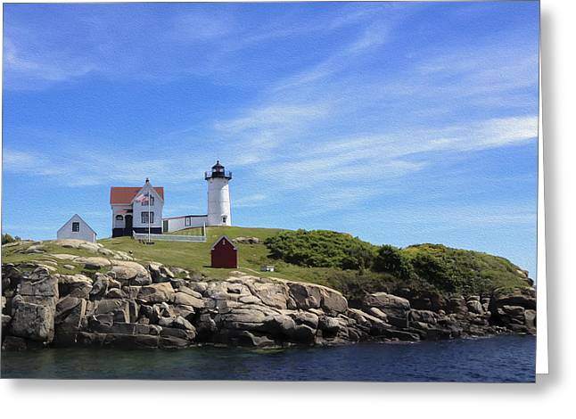 Greeting Card featuring the photograph Nubble Light House by Linda Constant